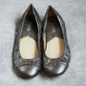 Michael Kors Gray Metallic Studded Ballet Flat